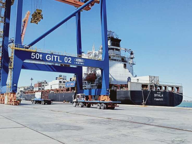 Afghan transit trade activity started through the Pakistani port of Gwadar on Jan 14, 2020. (Courtesy - Chinese Embassy)