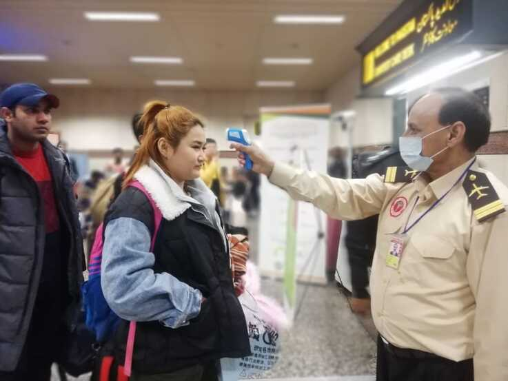 Passengers arriving Thursday from China to the Lahore airport were being screened for the coronavirus responsible for nearly 20 deaths in China. (Courtesy Pakistan Health Ministry)