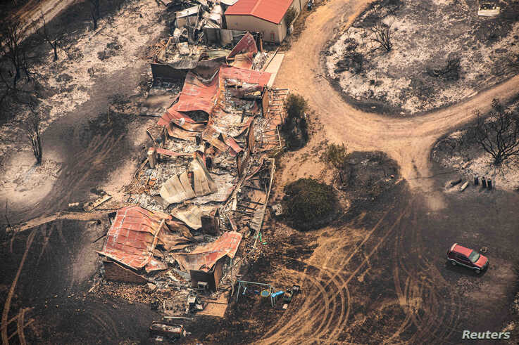Property damaged by the East Gippsland fires in Sarsfield, Victoria, Australia.