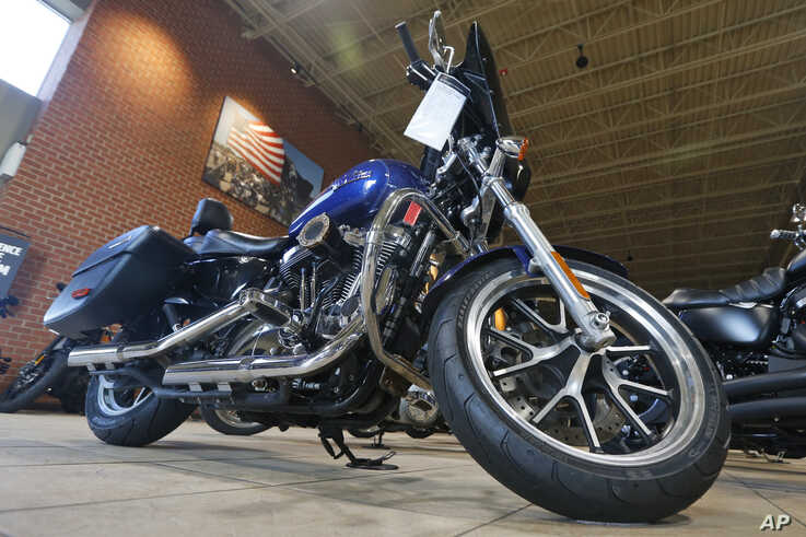 Harley Davidson motorcycles on display at a dealership in Ashland, Virginia, Oct. 17, 2019.
