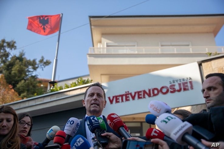 U.S. ambassador to Germany Richard Grenel speaks after he met with the leader of Vetevendosje, newly nominated prime minister…