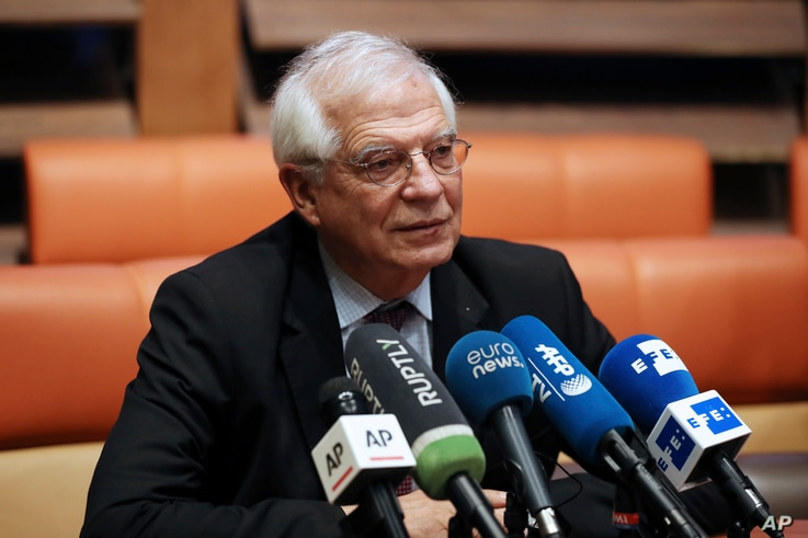 European Union foreign policy chief Josep Borrell gives a press briefing after his meetings with Iranian leaders, in Tehran,…