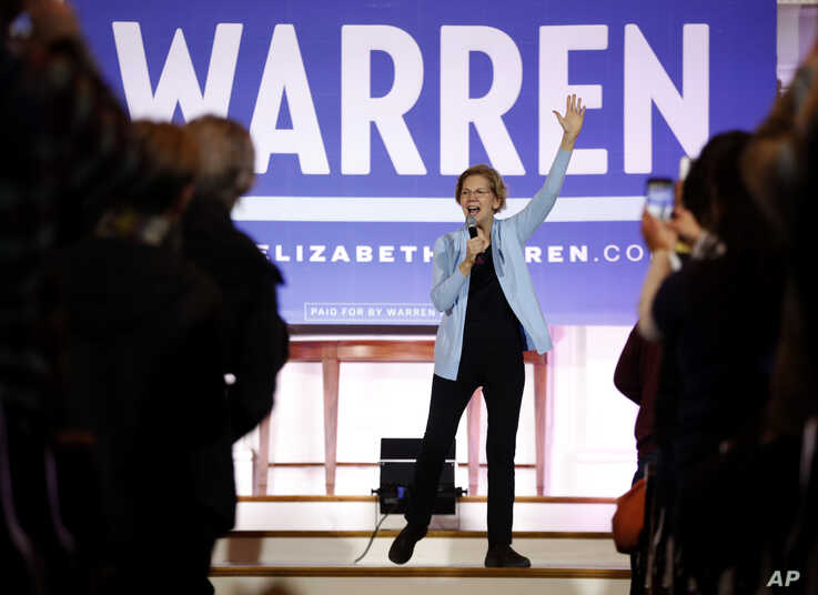 Democratic presidential candidate Sen. Elizabeth, D-Mass., speaks at a town hall campaign event, Monday, Feb. 10, 2020.
