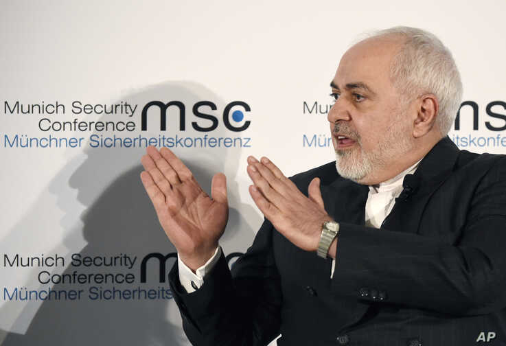 Iranian Foreign Minister Mohammad Javad Zarif speaks on the second day of the Munich Security Conference in Munich, Germany, Feb. 15, 2020.
