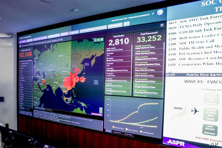 A large monitor displaying a map of Asia and a tally of total coronavirus cases, deaths, and recovered, is visible