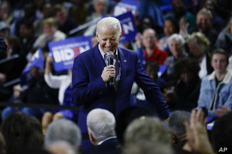 Democratic presidential candidate former Vice President Joe Biden speaks during a campaign event, Feb. 28, 2020, in S.C.