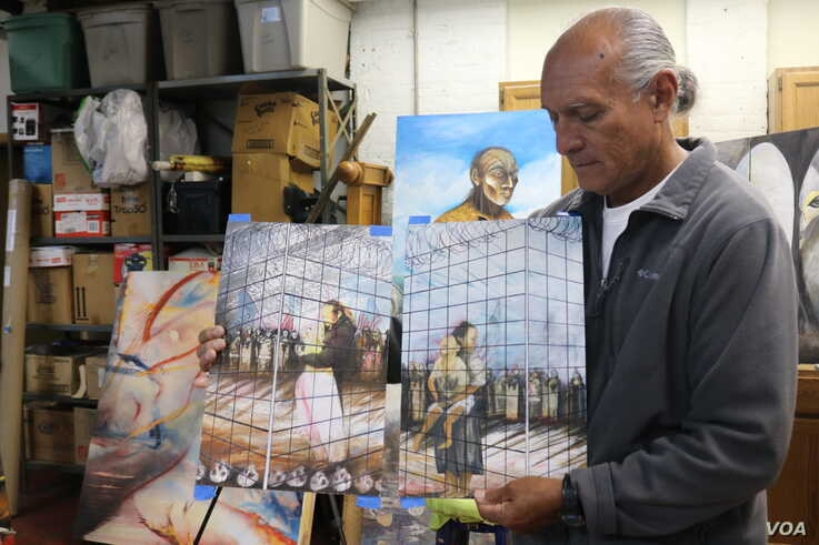 Ricardo Santos Hernandez uses his artwork, which consists of oil paintings, drawings, murals and etchings, to try to make Americans more sympathetic toward would-be migrants.