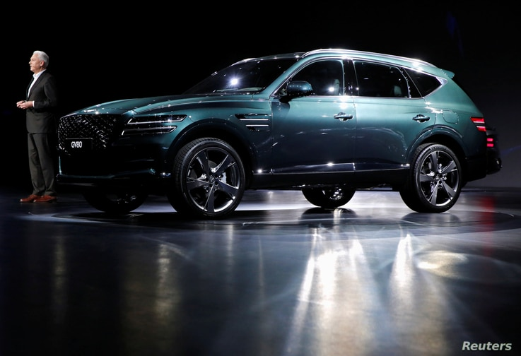 Hyundai Motor Genesis GV80 SUV is seen during its unveiling ceremony in Goyang, South Korea, January 15, 2020.  REUTERS/Heo Ran…