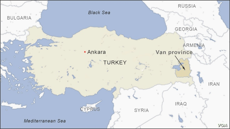 Map of Van province, Turkey