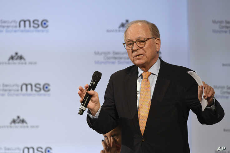 FILE - Wolfgang Ischinger, chairman of the Munich Security Conference is seen during his closing speech at last year's Munich Security Conference, in Munich, southern Germany, Feb. 17, 2019.