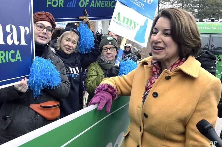 Democratic presidential candidate Sen. Amy Klobuchar greets supporters in Manchester, N.H., Feb. 11, 2020.