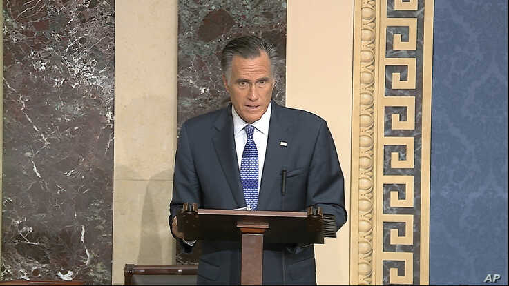 In this image from video, Republican Senator Mitt Romney speaks on the Senate floor on the impeachment trial of President Donald Trump, at the Capitol in Washington, Feb. 5, 2020.