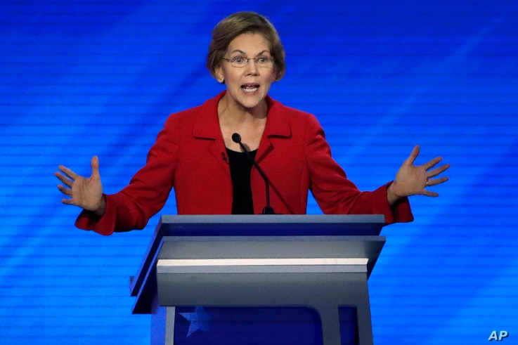 Democratic presidential candidate Elizabeth Warren speaks during a Democratic presidential primary debate at Saint Anselm College in Manchester, New Hampshire, Feb. 7, 2020.