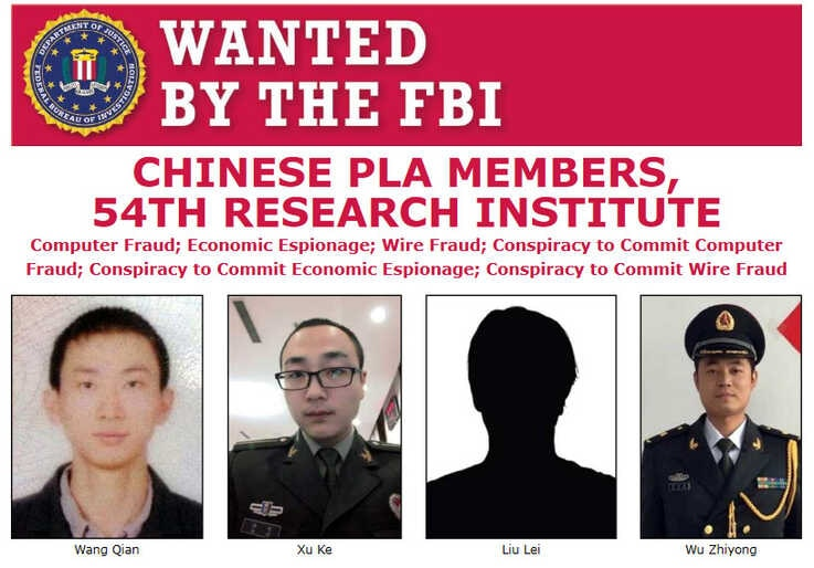 FBI Wanted poster of accused Chinese hackers