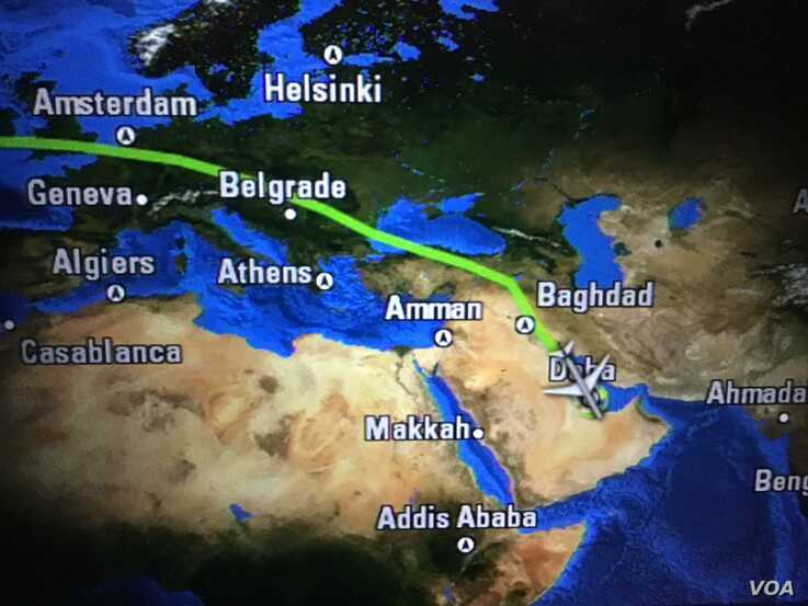 Qatar Airways flights are often routed over Iran and Iraq to avoid flying over Saudi airspace. (Jacob Wirtschafter/VOA)