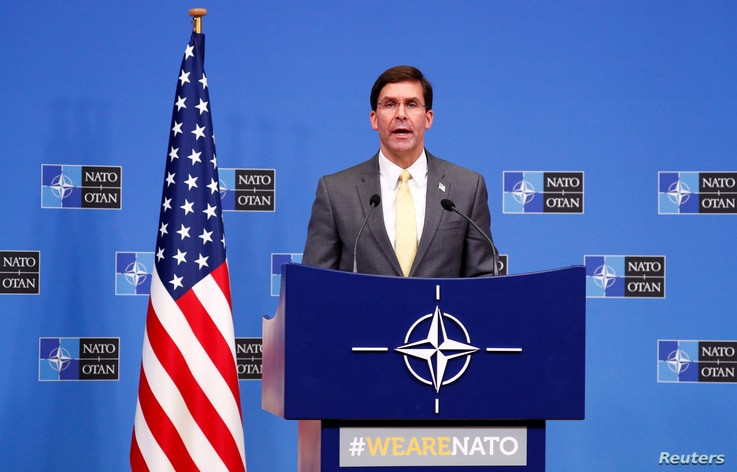 U.S. Secretary of Defence Mark Esper speaks at a news conference following a NATO defense ministers meeting at the alliance's headquarters in Brussels, Belgium, Feb. 13, 2020.