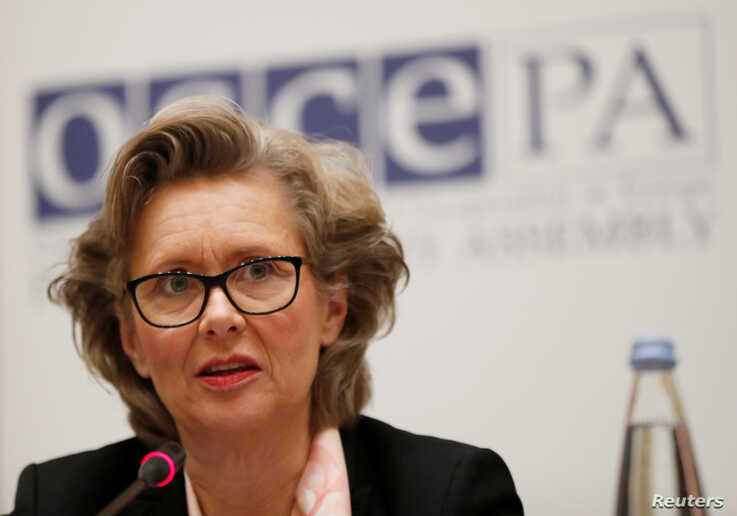 FILE - The OSCE's Margareta Cederfelt speaks during a news conference in Tbilisi, Georgia, Nov. 29, 2018.