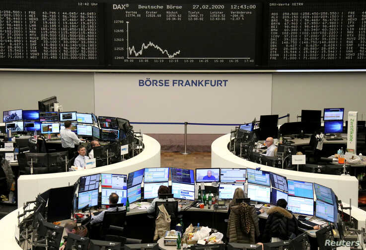 The German share price index DAX graph is pictured at the stock exchange in Frankfurt, Germany, Feb. 27, 2020.