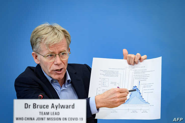 Team leader of the joint mission between World Health Organization (WHO) and China on COVID-19, Bruce Aylward shows graphics…