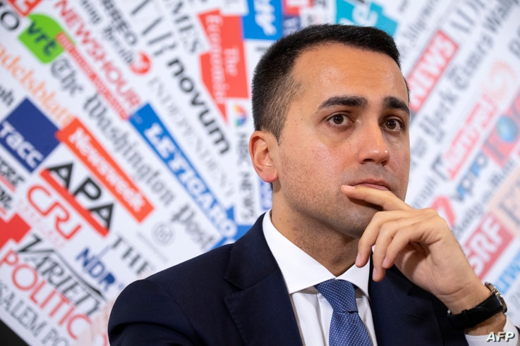 Italy's Foreign Minister Luigi Di Maio gives a press conference at the Foreign Press Association in Rome, on February 27, 2020…