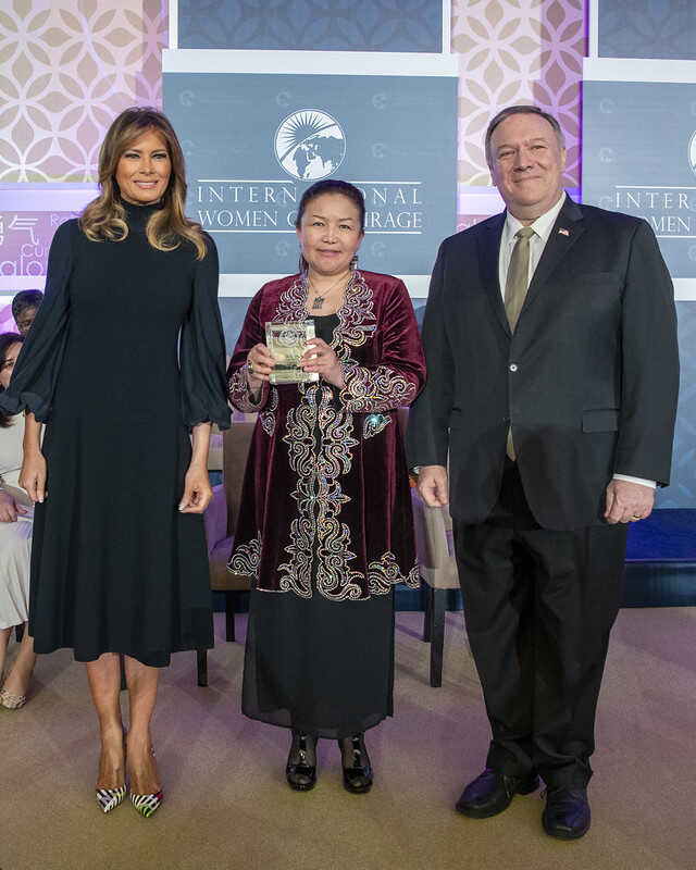 U.S. first lady Melania Trump, Sayragul Sauytbay and Secretary of State Mike Pompeo are pictured at the State Department, March 4, 2020. (State Department photo)