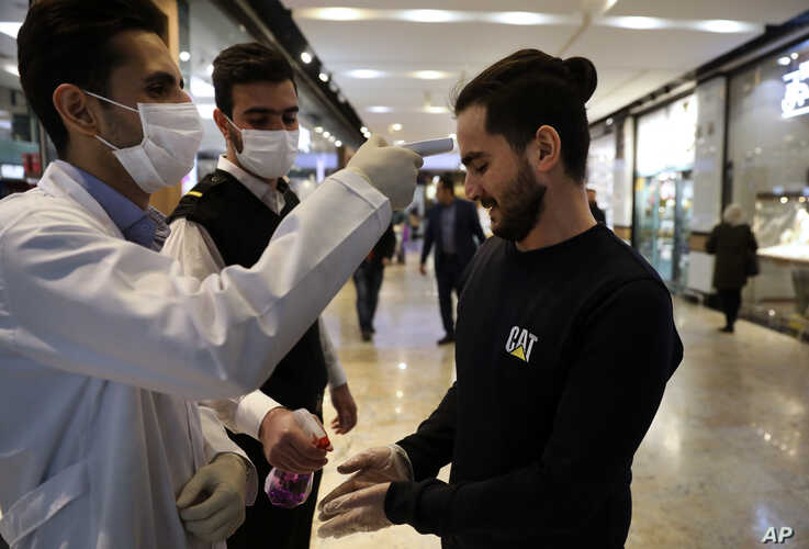 A man has his temperature checked and his hands disinfected as he enters the Palladium Shopping Center, in northern Tehran.