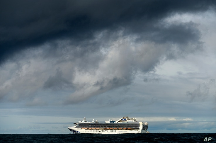 Carrying multiple people who have tested positive for COVID-19, the Grand Princess maintains a holding pattern about 30 miles off the coast of San Francisco, March 8, 2020.