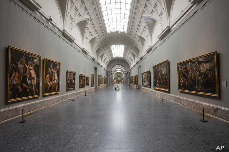 View of an empty gallery at El Prado Museum in Madrid, Spain, Thursday, March 12, 2020. The spread of the new coronavirus…