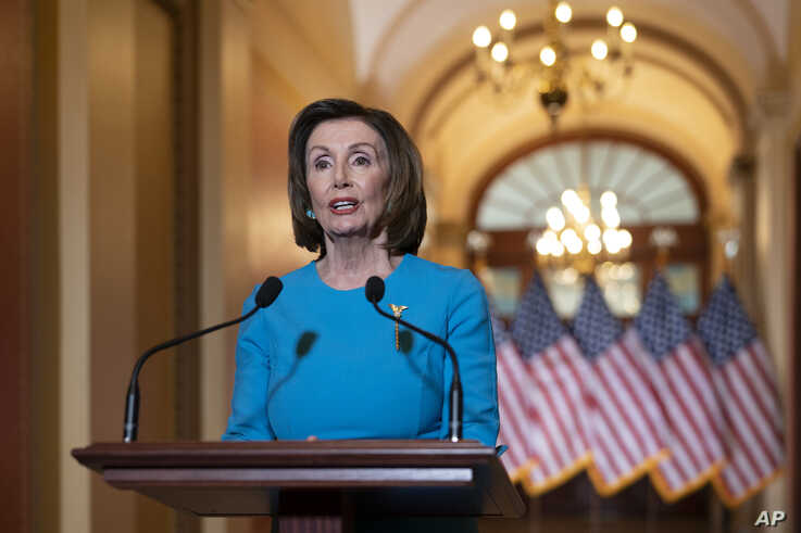 Speaker of the House Nancy Pelosi, D-Calif., makes a statement about a coronavirus aid package, on Capitol Hill in Washington,…