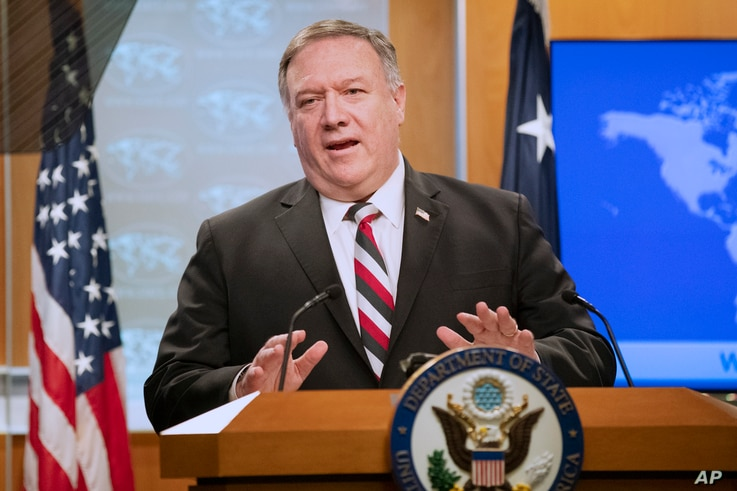 Secretary of State Mike Pompeo speaks during a news conference at the State Department, Tuesday, March 17, 2020, in Washington…