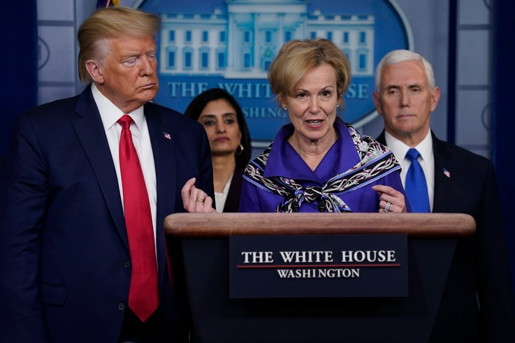Dr. Deborah Birx, White House coronavirus response coordinator speaks during press briefing with the Coronavirus Task Force, at the White House, Wednesday, March 18, 2020, in Washington.