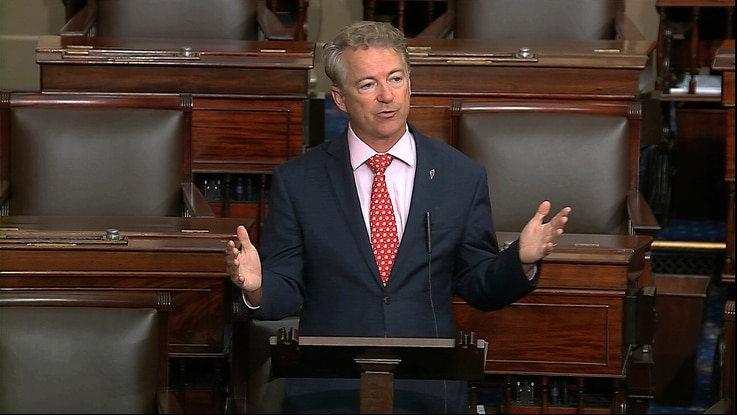 In this image from video, Sen. Rand Paul, R-Ky., speaks on the Senate floor at the U.S. Capitol in Washington, Wednesday, March 18, 2020.
