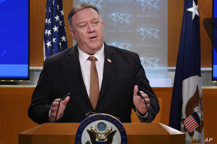 Secretary of State Mike Pompeo speaks during a news conference at the State Department on Wednesday, March 25, 2020, in…