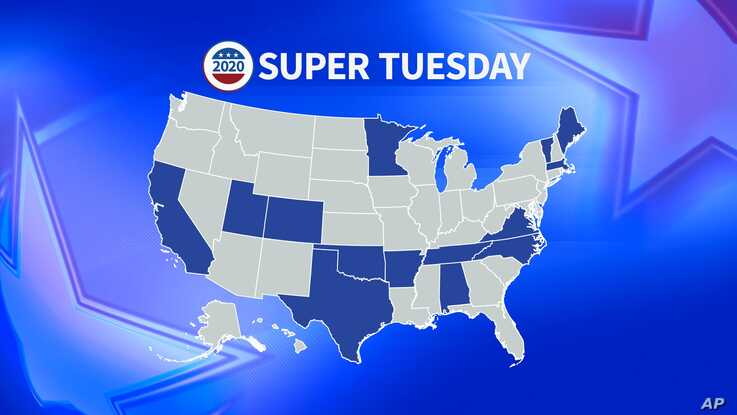 Map showing the states holding 2020 primaries on Super Tuesday