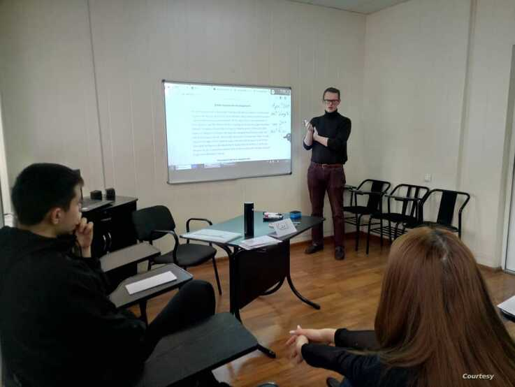 Carl Liles teaches a class in Bishkek, Kyrgyzstan, before the coronavirus pandemic shut down the Fulbright program. (Courtesy photo)