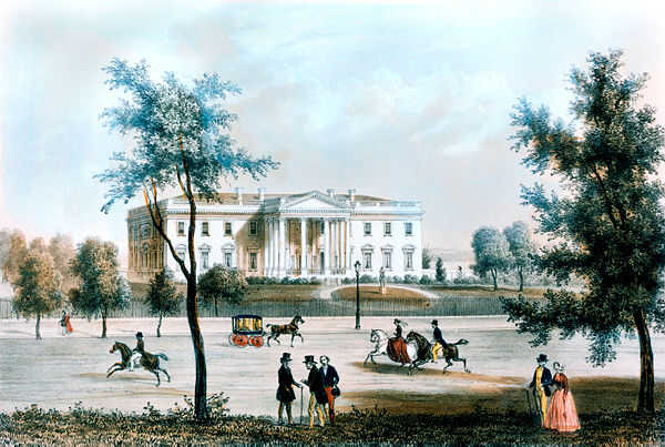 View of the White House from Pennsylvania Avenue during James K. Polk's presidency (1845-1849). Lithograph by Augustus Kollner. (White House Collection/White House Historical Association)
