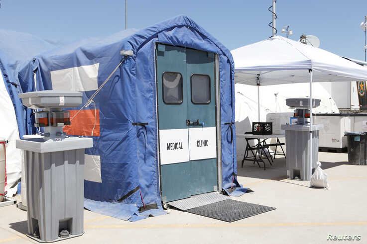 Medical facilities are seen at the Tornillo facility, a shelter for children of detained migrants, in Tornillo, Texas.