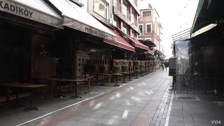 Istanbul's Kadikoy district a hub for the city's famed restaurants is now empty and silent as all the country's restaurants are closed as part of the battle to contain the epidemic. (VOA/Dorian Jones)
