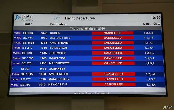 An electronic flight departure board displays 'cancelled' statuses for all Flybe flights at Exeter Airport in Exeter, England, March 5, 2020, following news that the airline had collapsed into bankruptcy.