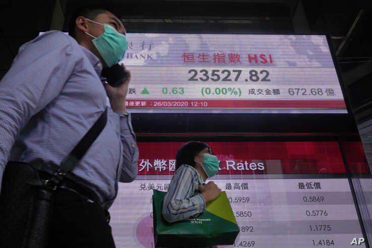 People wearing face masks walk past a bank electronic board showing the Hong Kong share index at Hong Kong Stock Exchange, March 26, 2020.