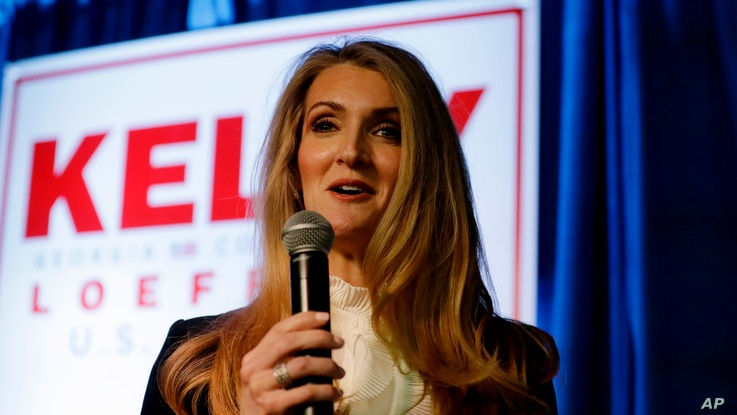 FILE - Senator Kelly Loeffler, a Republican from Georgia, speaks during a re-election campaign rally in Marietta, Georgia, March 9, 2020.