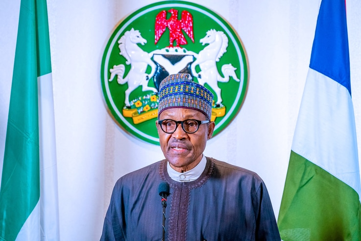 Nigerian President Muhammadu Buhari addresses the nation on the coronavirus disease (COVID-19), in Abuja, March 29, 2020.