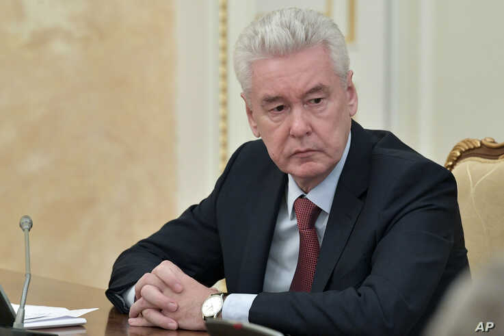 Moscow Mayor Sergei Sobyanin attends a cabinet meeting with Prime Minister Mikhail Mishustin in Moscow, Russia, March 30, 2020.