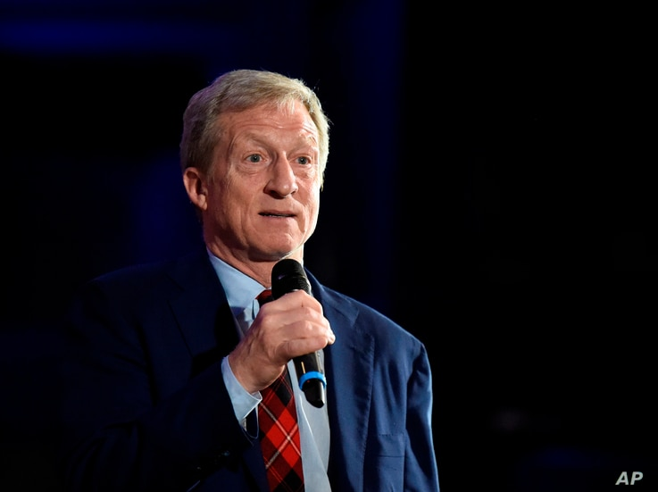 Democratic presidential candidate Tom Steyer announces the end of his presidential campaign following the results of the South Carolina primary, Feb. 29, 2020, in Columbia, South Carolina.