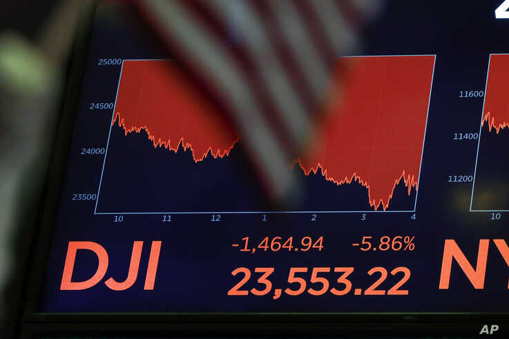 A board above the floor of the New York Stock Exchange shows the closing number for the Dow Jones Industrial Average, in New York City, March 11, 2020.