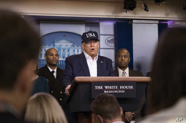 President Donald Trump speaks during a news conference about the coronavirus in the James Brady Briefing Room at the White House, March 14, 2020, in Washington.