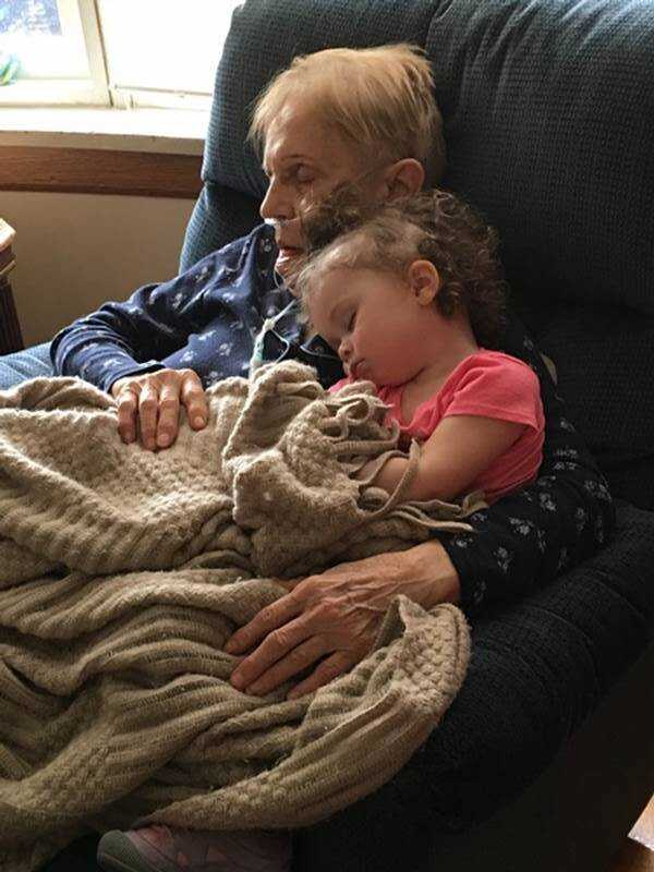 Connie Lambert's favorite job is watching her two great-granddaughters.  Here she is napping with the 2-year-old.