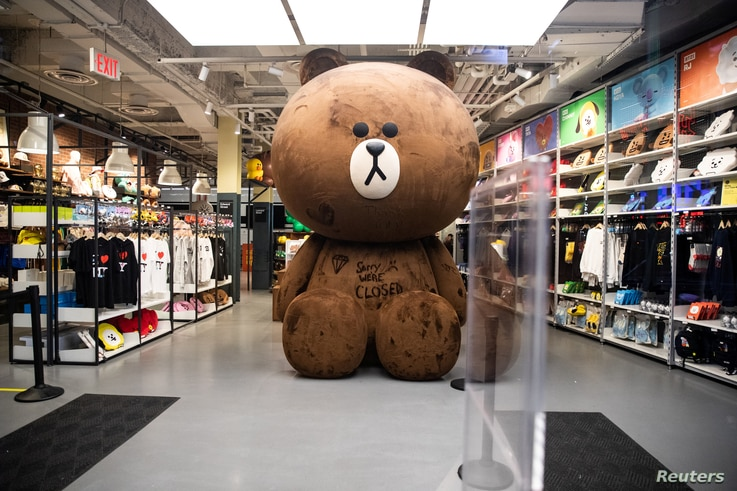 An empty store is seen near Times Square following the outbreak of the coronavirus in New York City, March 18, 2020.