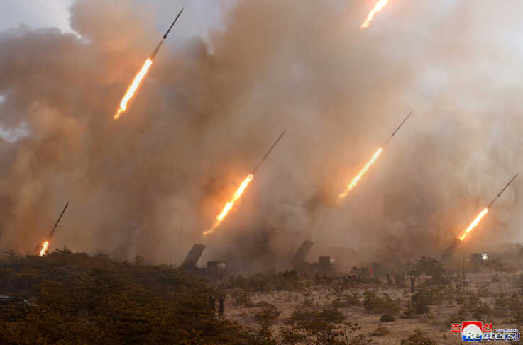 Missiles are seen in this undated picture released by North Korea's Korean Central News Agency (KCNA), March 9, 2020.