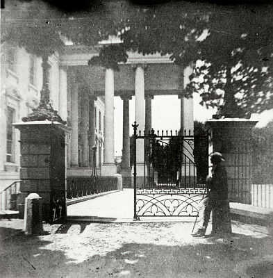 Iron gates around the White House, during the Civil War, intended to help control public access to the White House from the street. Stereograph by Montgomery Cunningham Meigs. (Library of Congress)